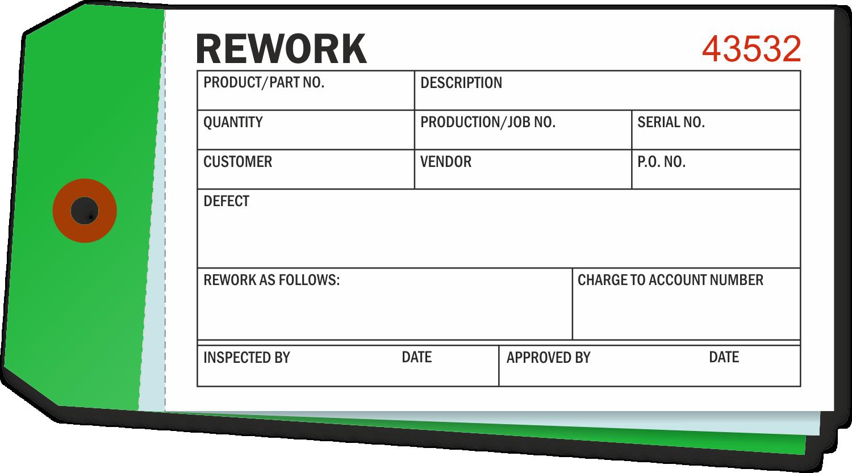 Repairable or Rework Tag 4-3//4 x 2-3//8 Pack of 100